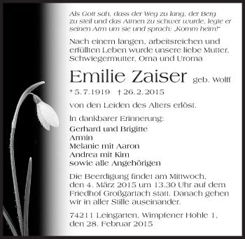 Zur Gedenkseite von Emilie