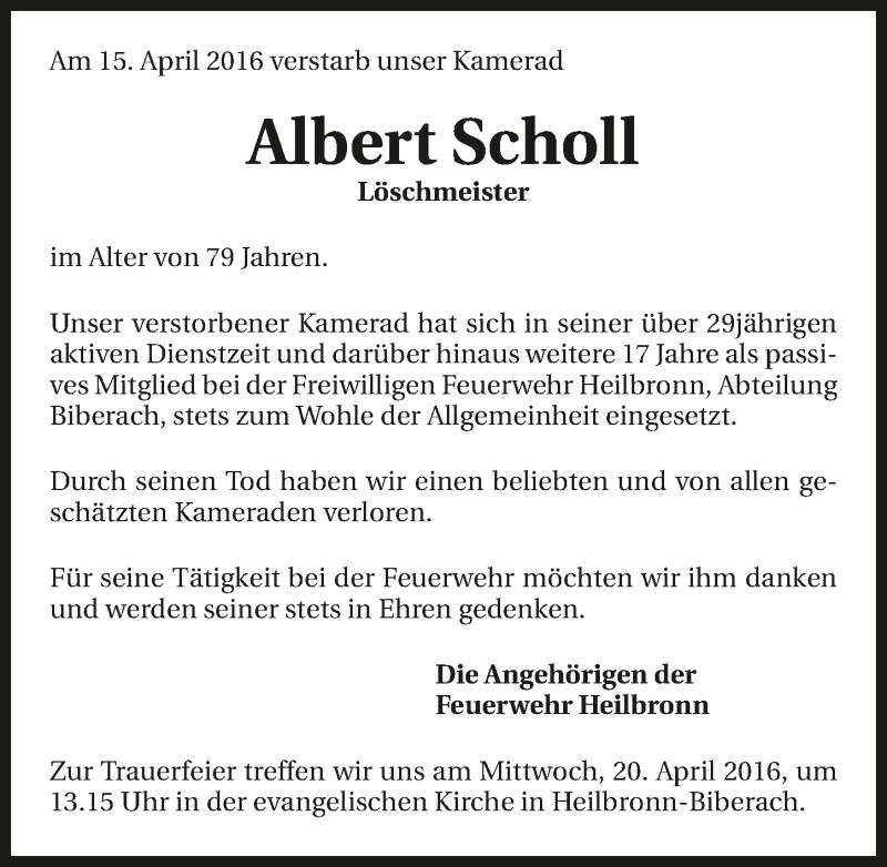 Anzeige Von Albert Scholl Www Trauerundgedenken De