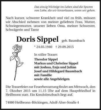 Zur Gedenkseite von Doris