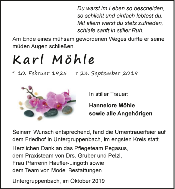 Traueranzeige von Karl Möhle