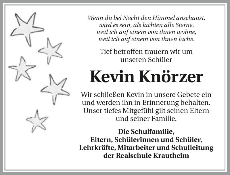 Traueranzeige für Kevin Knörzer vom 23.10.2019 aus