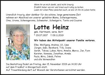 Traueranzeige von Lotte Heinz