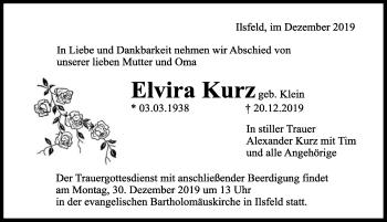 Traueranzeige von Elvira Kurz