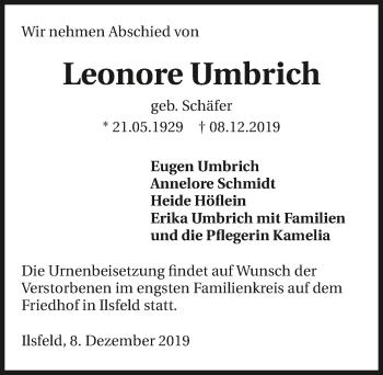 Traueranzeige von Leonore Umbrich