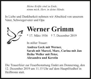 Traueranzeige von Werner Grimm