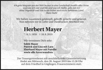 Traueranzeige von Herbert Mayer
