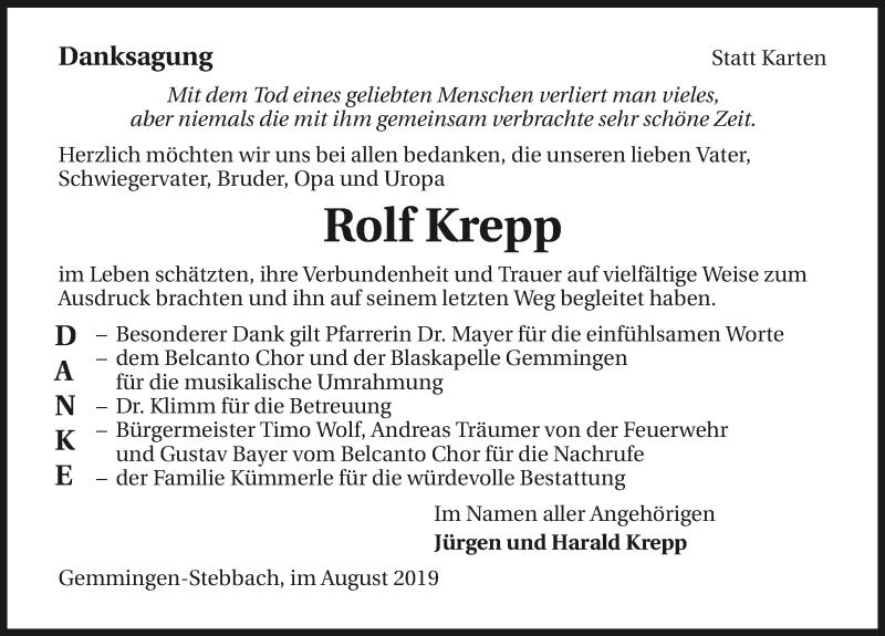 Traueranzeige für Rolf Krepp vom 06.08.2019 aus