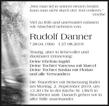 Traueranzeige von Rudolf Danner