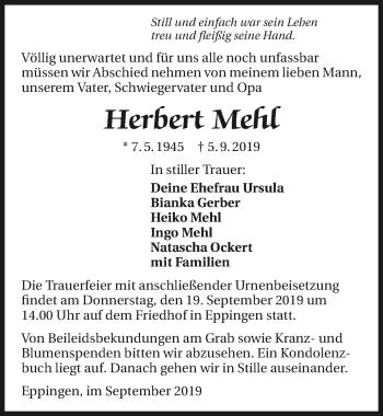 Traueranzeige von Herbert Mehl