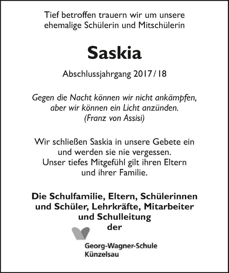 Traueranzeige für Saskia Schneider vom 20.09.2019 aus