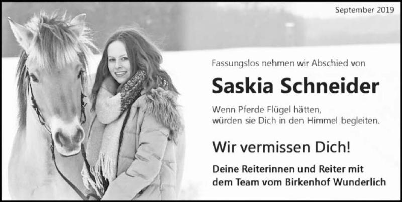 Traueranzeige für Saskia Schneider vom 21.09.2019 aus