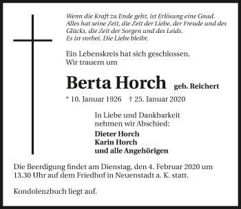 Traueranzeige von Berta Horch