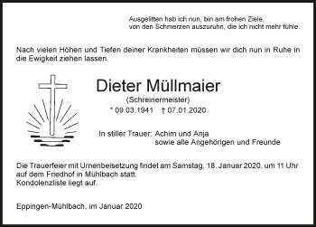 Traueranzeige von Dieter Müllmaier