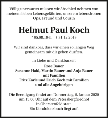 Traueranzeige von Helmut Paul Koch
