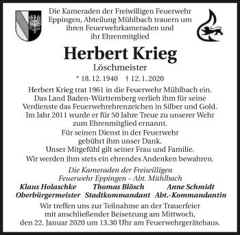 Traueranzeige von Herbert Krieg
