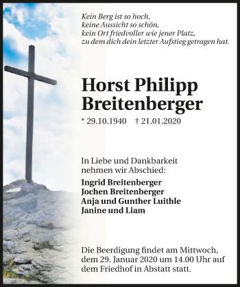 Traueranzeige von Horst Philipp Breitenberger
