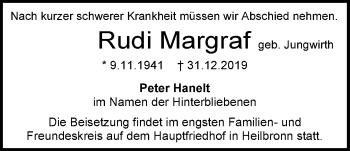 Traueranzeige von Rudi Margraf