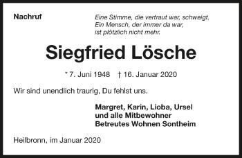 Traueranzeige von Siegfried Lösche