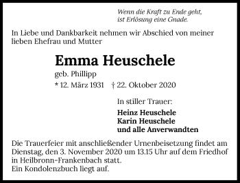Traueranzeige von Emma Heuschele von GESAMT
