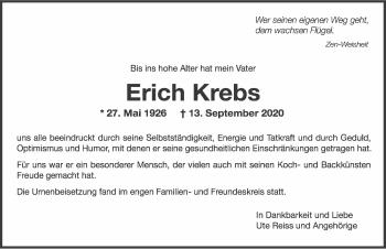 Traueranzeige von Erich Krebs von GESAMT