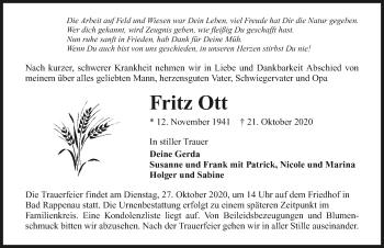 Traueranzeige von Fritz Ott von GESAMT