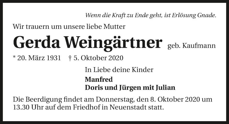 Traueranzeige für Gerda Weingärtner vom 07.10.2020 aus GESAMT