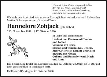Traueranzeige von Hannelore Zobjack von GESAMT