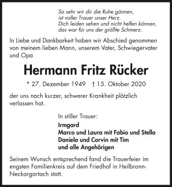 Traueranzeige von Hermann Fritz Rücker von GESAMT