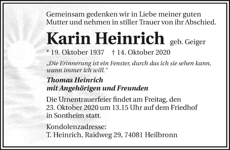 Traueranzeige für Karin Heinrich vom 17.10.2020 aus GESAMT