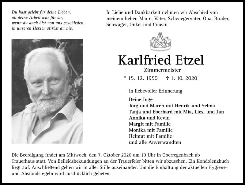 Traueranzeige für Karlfried Etzel vom 06.10.2020 aus GESAMT