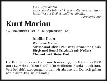 Traueranzeige von Kurt Marian von GESAMT