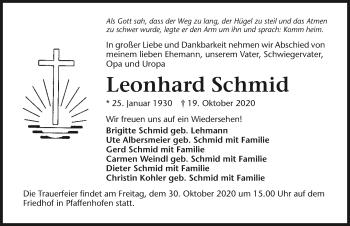 Traueranzeige von Leonhard Schmid von GESAMT