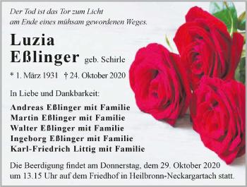 Traueranzeige von Luzia Eßlinger von GESAMT