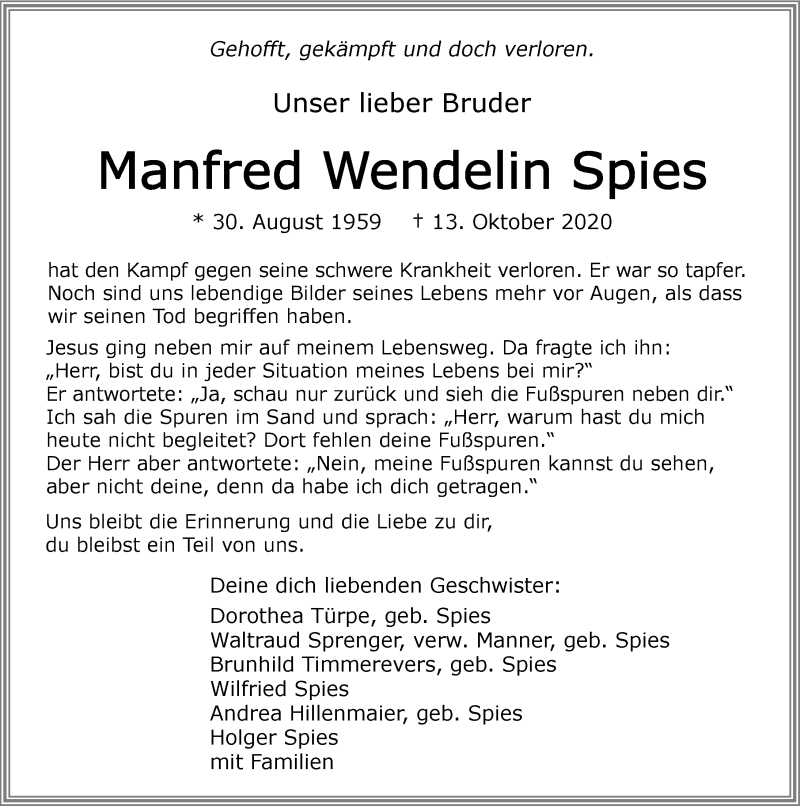 Traueranzeige für Manfred Spies vom 17.10.2020 aus GESAMT