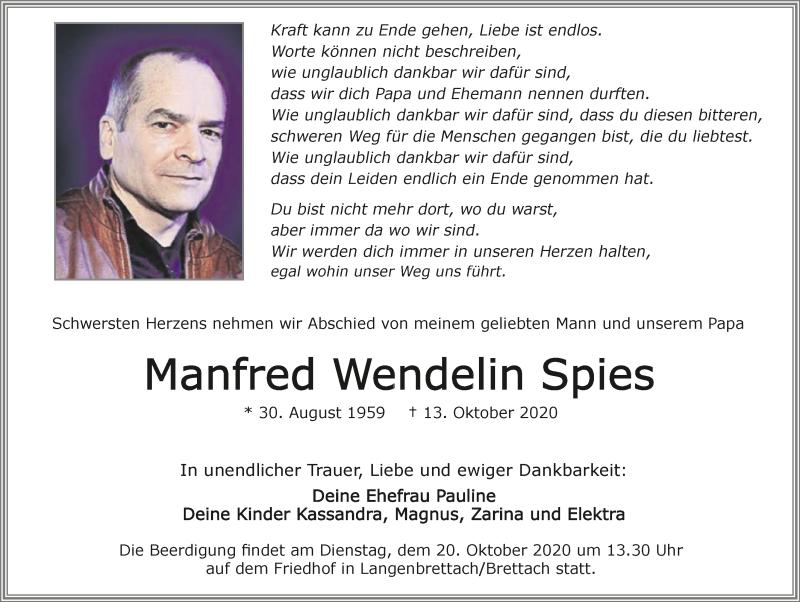Traueranzeige für Manfred Wendelin Spies vom 17.10.2020 aus GESAMT