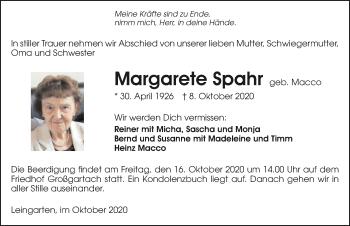 Traueranzeige von Margarete Spahr von GESAMT