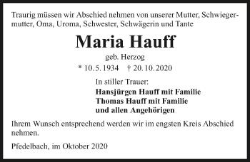 Traueranzeige von Maria Hauff von GESAMT