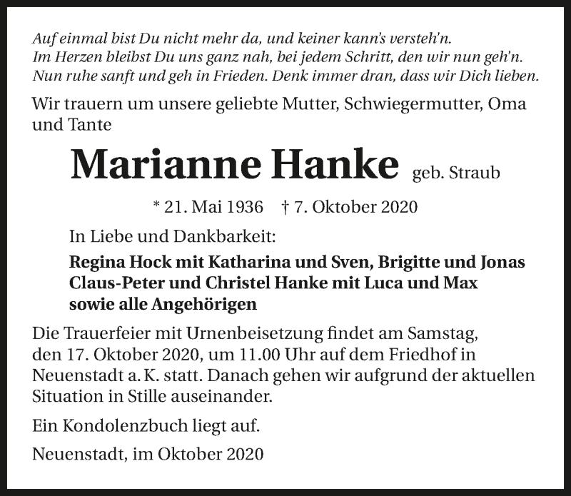 Traueranzeige für Marianne Hanke vom 14.10.2020 aus GESAMT