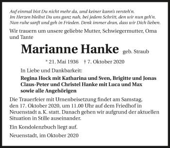Traueranzeige von Marianne Hanke von GESAMT