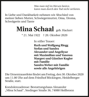 Traueranzeige von Mina Schaal von GESAMT