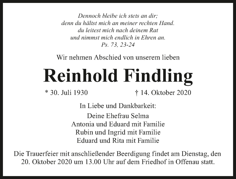 Traueranzeige für Reinhold Findling vom 17.10.2020 aus GESAMT