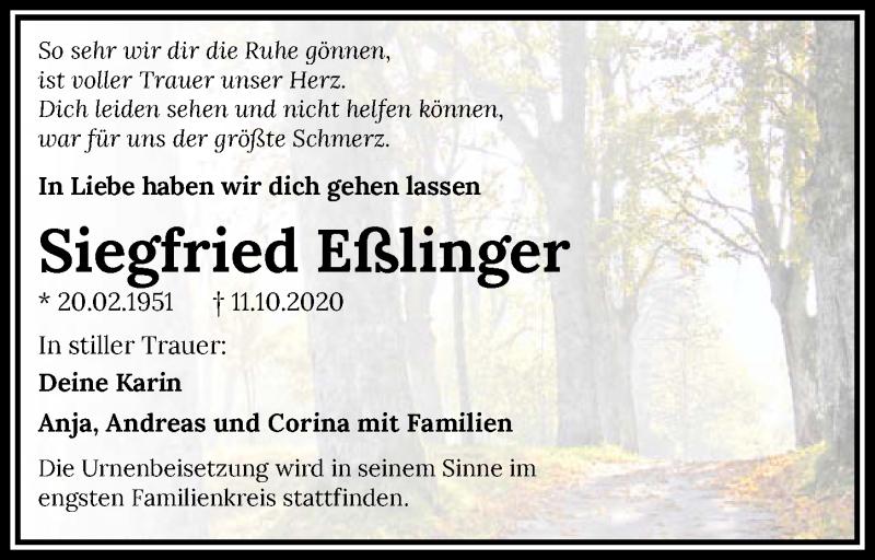 Traueranzeige für Siegfried Eßlinger vom 17.10.2020 aus GESAMT