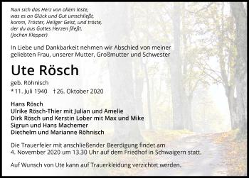 Traueranzeige von Ute Rösch von GESAMT