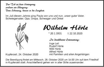 Traueranzeige von Wilhelm Hörle von GESAMT