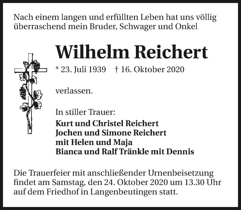 Traueranzeige für Wilhelm Reichert vom 21.10.2020 aus GESAMT