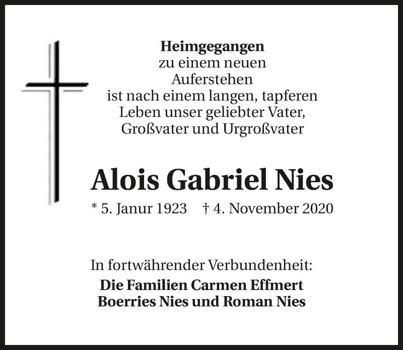 Traueranzeige für Alois Gabriel Nies vom 07.11.2020 aus GESAMT