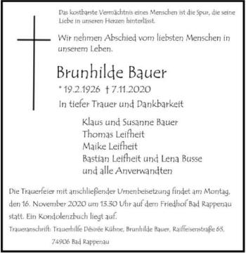 Traueranzeige von Brunhilde Bauer von GESAMT
