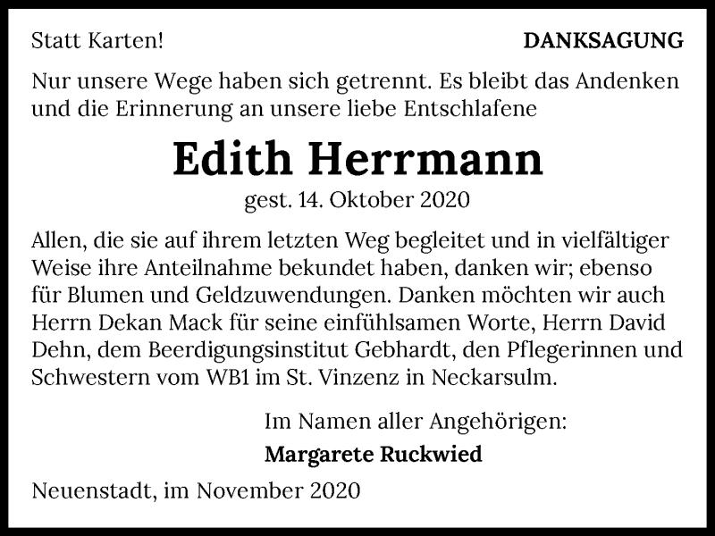 Traueranzeige für Edith Herrmann vom 04.11.2020 aus GESAMT
