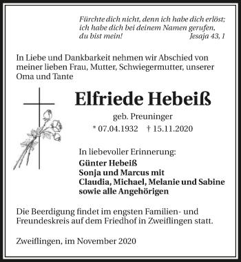 Traueranzeige von Elfriede Hebeiß von GESAMT