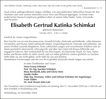 Traueranzeige von Elisabeth Schimkat von GESAMT